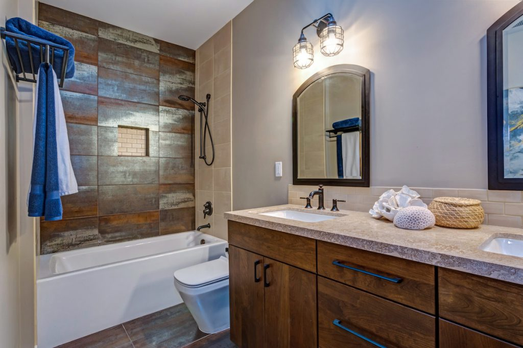Stylish bathroom interior with double vanity cabinet